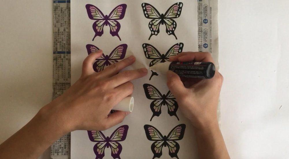 鬼滅-ハロウィン-羽に白い模様を描き加える