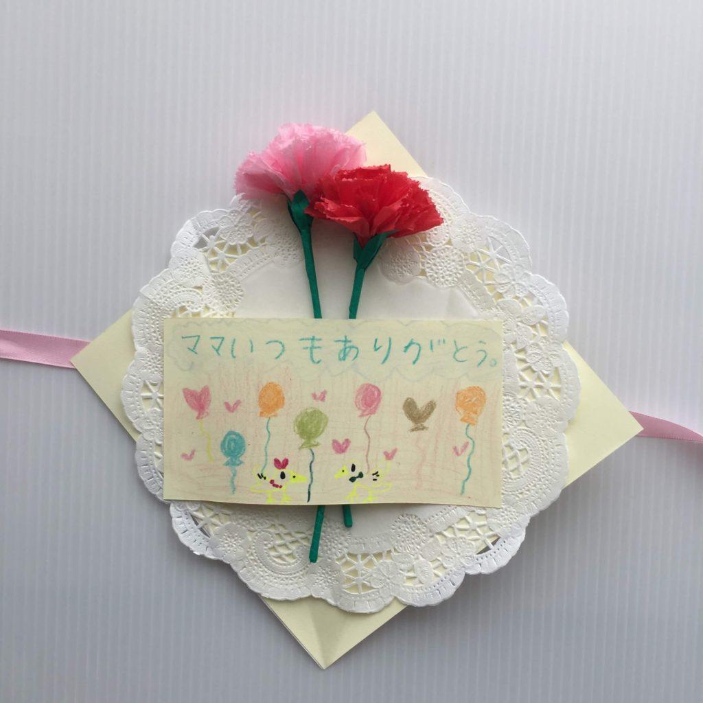 母の日カードの作り方_メッセージを土台に貼る